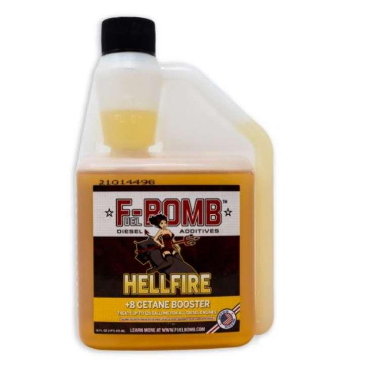 F-Bomb HELLFIRE +8 Cetane Booster Diesel Fuel Performance Enhancer 16oz Bottle