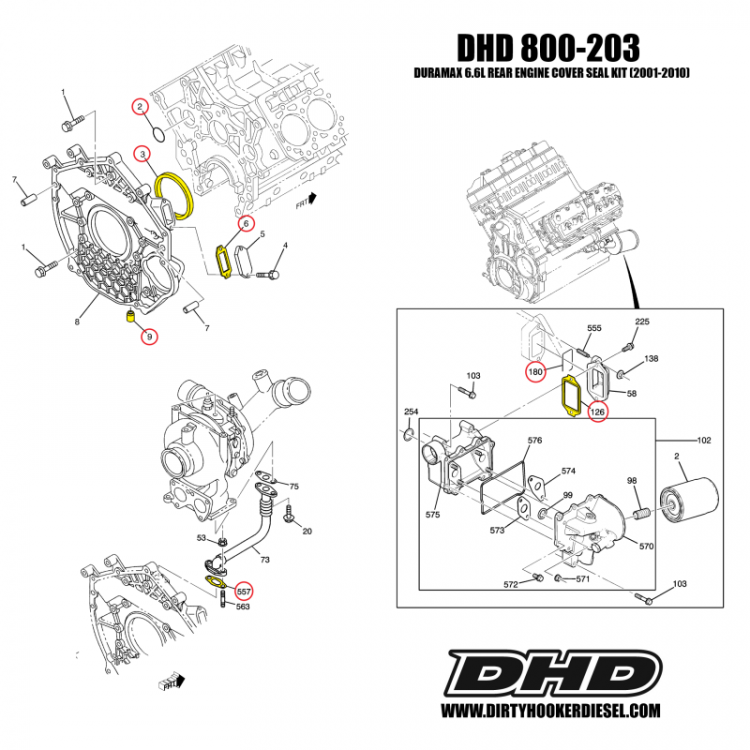 01-10 GM 6.6L Duramax Rear Engine Cover Install Seal Kit