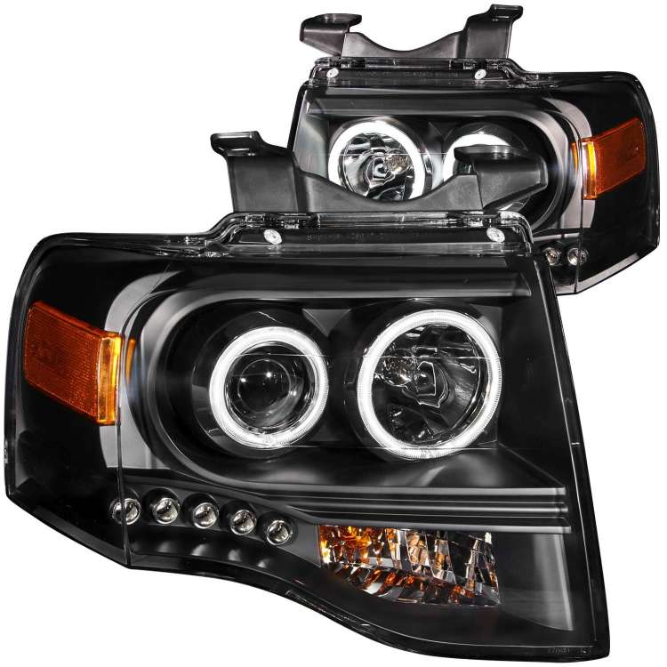 07-13 Ford Expedition Anzo Projector Headlights Black Clear
