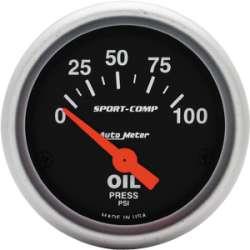 Sport Comp Electric Oil Pressure Gauge 0-100 PSI 3327