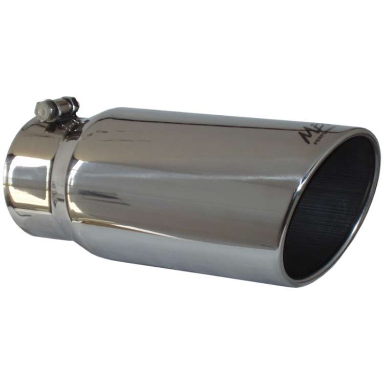 MBRP T5051 4 In Inlet, 5 In OD Single Wall Rolled Edge Angle Cut Exhaust Tip