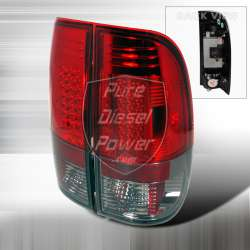 99-06 Ford F250/F350 LED Tail Lights Red/Smoke Lenses