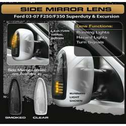 03-07 Ford F250-F550 Clear LED Mirror Lenses
