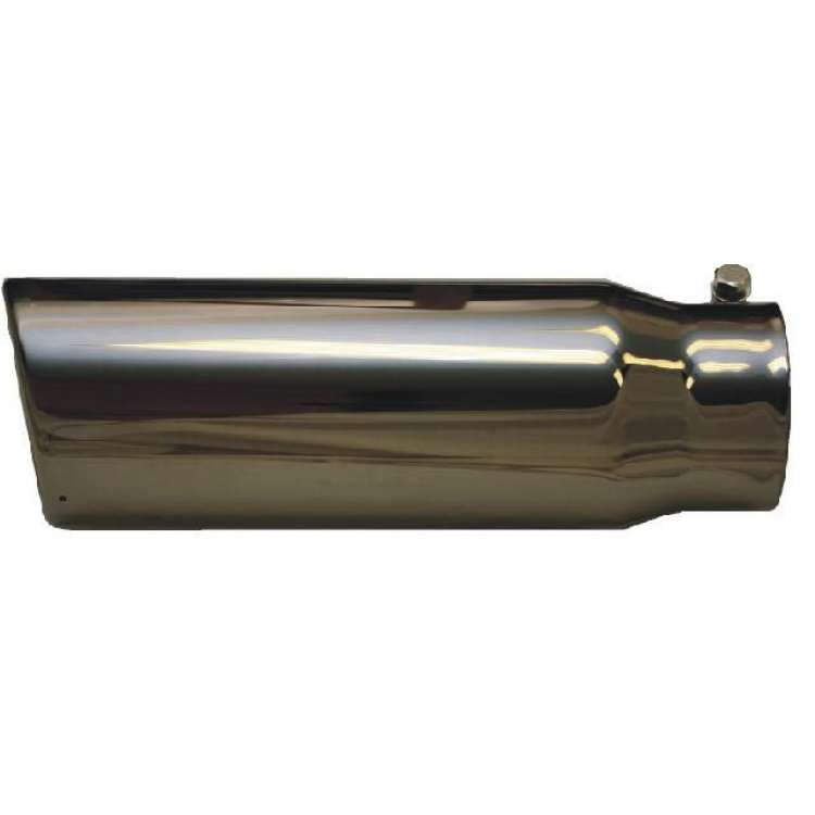 4 Inch Inlet 5 Inch Outlet Black Chrome Clamp-On Exhaust Tip