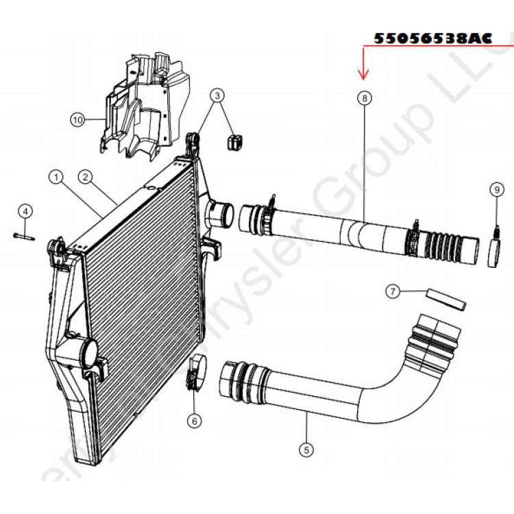 04.5-07 Dodge 5.9L Cummins Stock Passenger Side Intercooler Tube