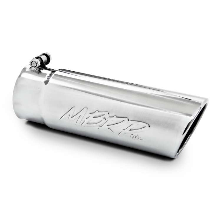 MBRP T5112 3.5 In Inlet, 4 In OD Angled Rolled End Stainless Tip