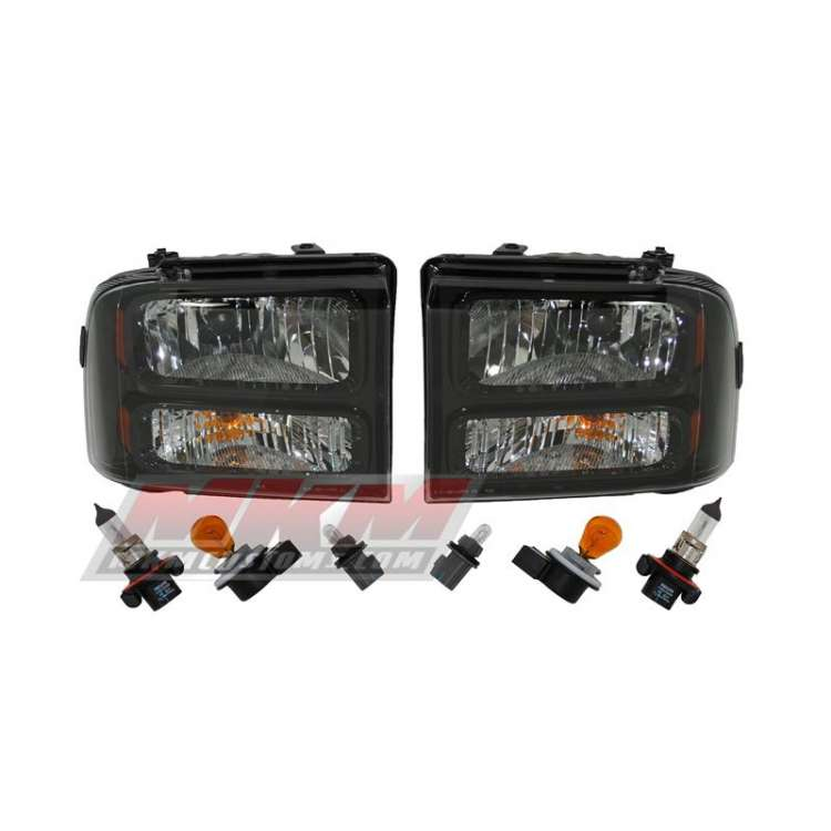 99-07 Ford Super Duty/Excursion Black Harley Davidson Style Headlights