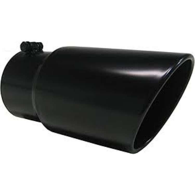 Pypes 4 In Inlet 8 In Outlet 18 In Long Rolled Edge Black Exhaust Tip