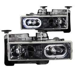 88-98 GM 1500-3500 Trucks ANZO Crystal Halo Carbon Headlights