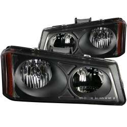 03-06 GM Silverado ANZO Crystal Black Amber Headlights
