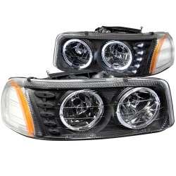 99-06 GMC Sierra ANZO Halo Black w/LED Amber Headlights