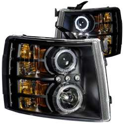 07-13 Chevy Silverado Anzo Projector Headlights Black Clear (CCFL)