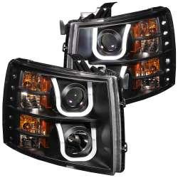07-13 Chevy Silverado Anzo Projector U-Bar Style Headlights Black Clear