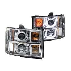 09-13 GMC Sierra 1500-3500 Anzo Projector U-Bar Style Headlights Chrome Clear