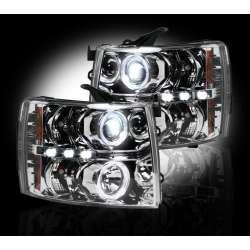 07-13 Chevy Silverado RECON Clear Projector Headlights w/LED Halos & DRLs