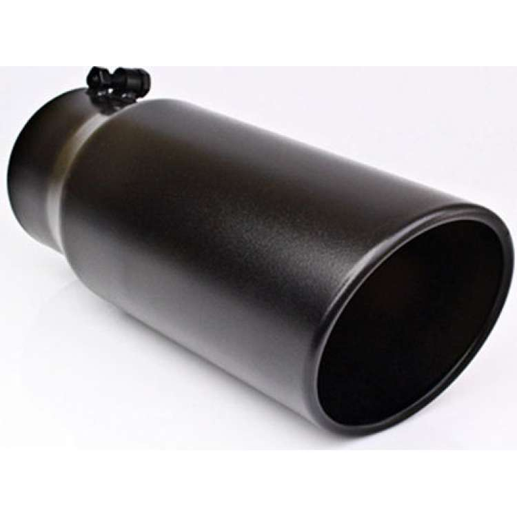 4 In Inlet 6 In Outlet 18 In Long DT Powder Coated Black Clamp-On Exhaust Tip