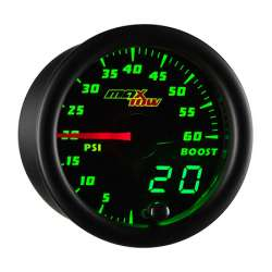 MaxTow Double Vision 60 PSI Boost Gauge w/Black Face