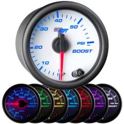 60 PSI 7 Color Boost Gauge w/White Face