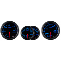 Black 7 Color Series Diesel Gauge Set Boost / Pyrometer / Transmission Temp