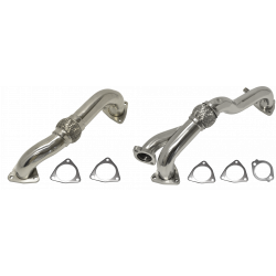 08-10 Ford 6.4L Powerstroke Stock Replacement Polished Stainless Up-Pipes