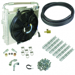 BD Xtrude Transmission Cooler w/Fan - Double Stacked Complete Kit (1/2in Lines)