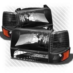 92-97 Ford F250 F350 CP OBS Headlight Kit Clear Black