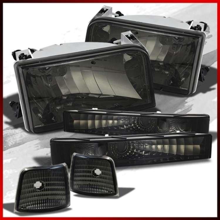 92-97 Ford F250 F350 CP OBS Headlight Kit Smoke