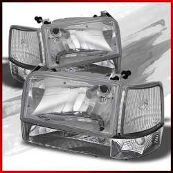 92-97 Ford F250 F350 CP OBS Headlight Kit Clear