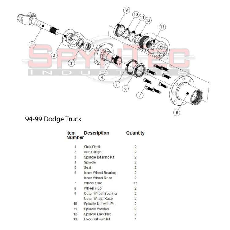 94-99 Dodge 2500/3500 SRW Spyn Tec Shorty Dodge Locking Hub Conversion