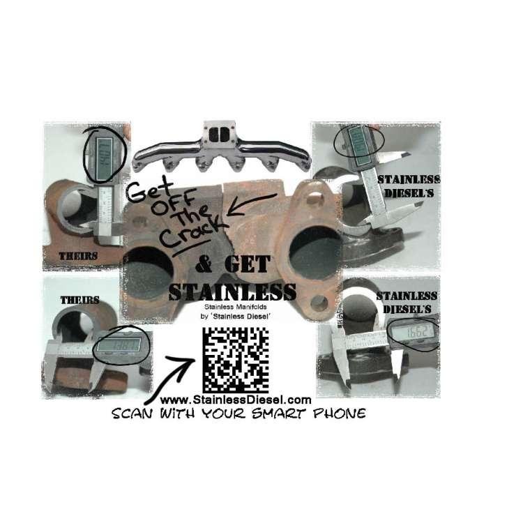 98.5-11 Dodge 5.9L 24V Cummins T-3 Stainless Diesel Exhaust Manifold