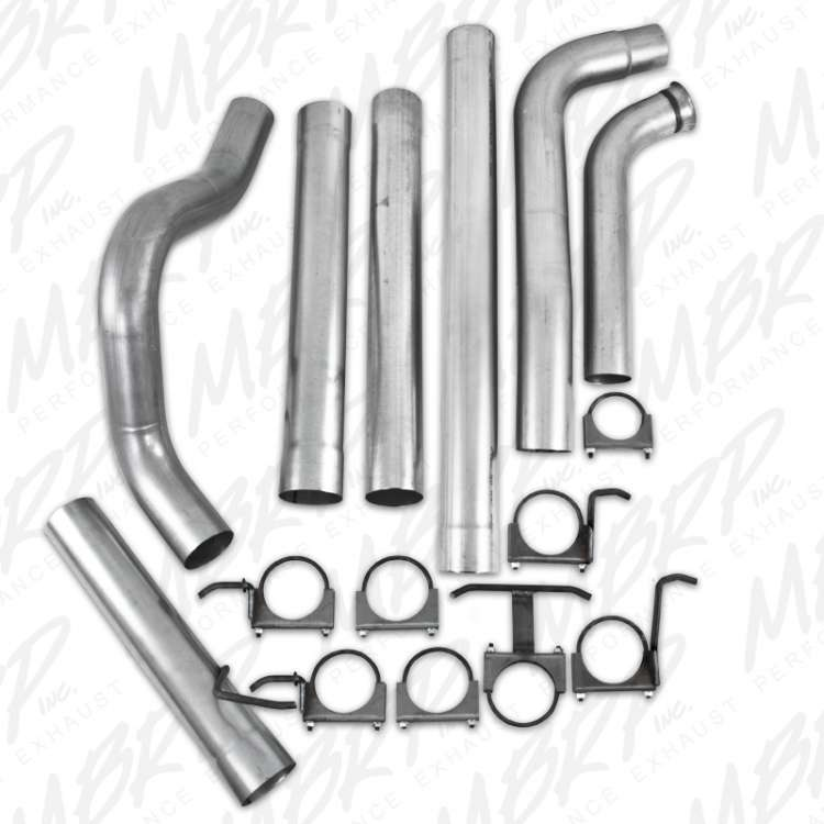 MBRP S6212PLM 6.0L Powerstroke 4 In Aluminized Off-Road No Muffler Exhaust System