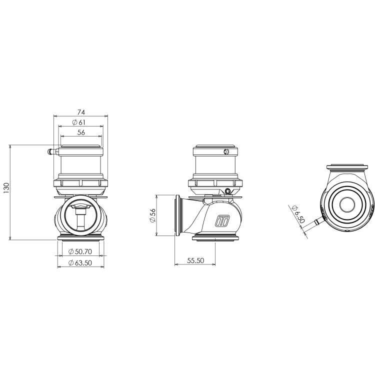 Turbosmart Hypergate 45HP/35PSI Blue External Wastegate Actuator