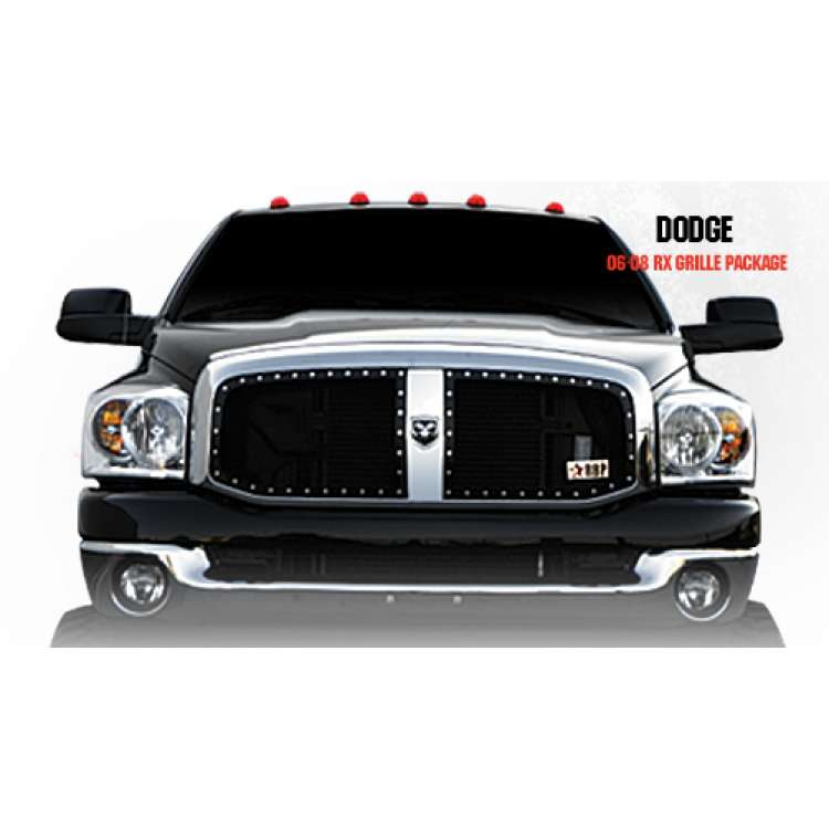 06-08 Dodge 2500/3500 RBP RX Black Two Piece Grille